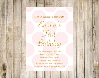 Big Polka Dot Birthday Photo Invitation First Printable Pink Mint Gold White Glitter Digital 1st Likes Loves Favorites