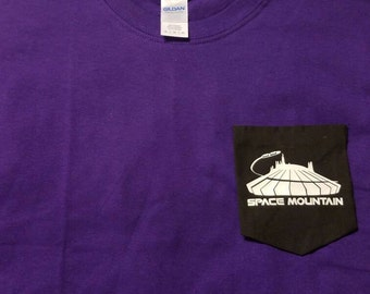 Space mountain Pocket T-Shirt Disney inspired- character- Pocket Tee- clothing- tee- T-Shirt- Disney parks- magic kingdom- glow in the dark