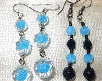 2 pairs of silvertone blue opal glass earrings