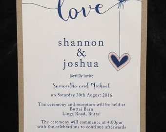 "Rustic Invitation ""Heart Strings"" SAMPLE"