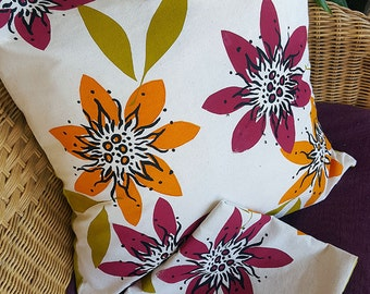 Tropical Flower Design, screen printed fabric, cushion covers, wild art images.