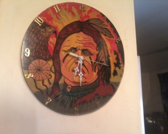 Handmade Chief Eagle Feather Clock