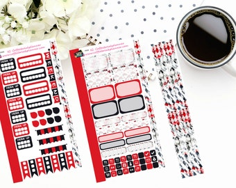 Personal Planner Weekly Sticker Kit| Planner Stickers| Black and Red Elegance Weekly Kit| P009