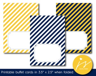 Yellow and navy blue printable food labels with stripes, Food tent cards, Foldable food buffet cards and labels, Striped place cards, TC-199