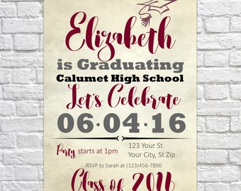 Customizable Printable Graduation Open House Invitation Announcement - Class of 2016 - Old Scroll