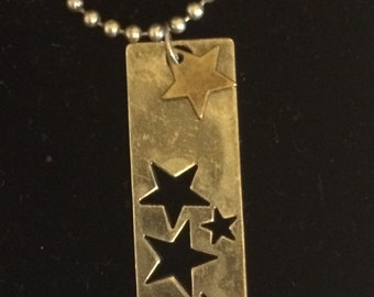 Seeing Stars ~ Metal Star-Stamped Pendant on Pewter Chain