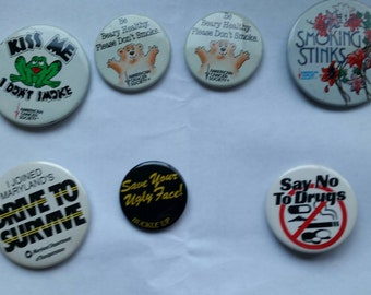 "Lot of vintage ""say no"" buttons"