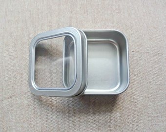 SET OF 6 - Empty Square Tins with Clear Lids - 50ml/1.5oz