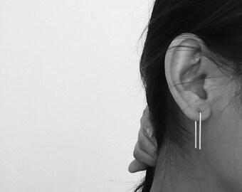 Squared wire hooks, u earrings, minimalist earrings