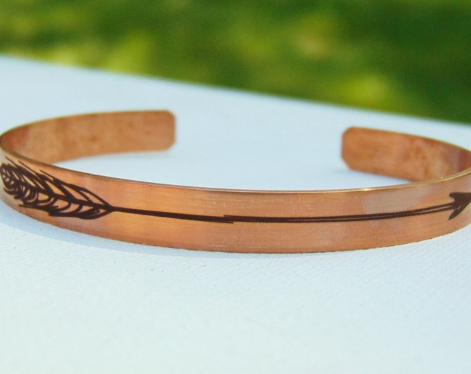 "Copper or Steel Arrow Cuff Bracelet - 6""x1/4"" Adjustable Copper Cuff -with Arrow Design Engraved, Optional Inside Custom Engraving Addon"