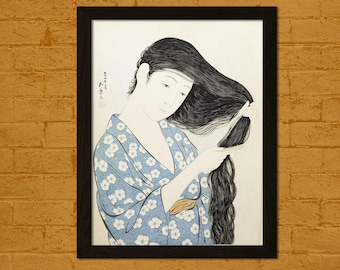 Printed on textured bamboo Art paper - Japanese Art Print Woman in Blue Combing Her Hair 1920 Goyo Ukiyo-e  Retro  Decor Japanese Poster  bp