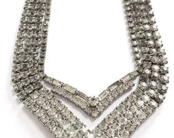 Vintage Clear Rhinestone V Line Necklace Set