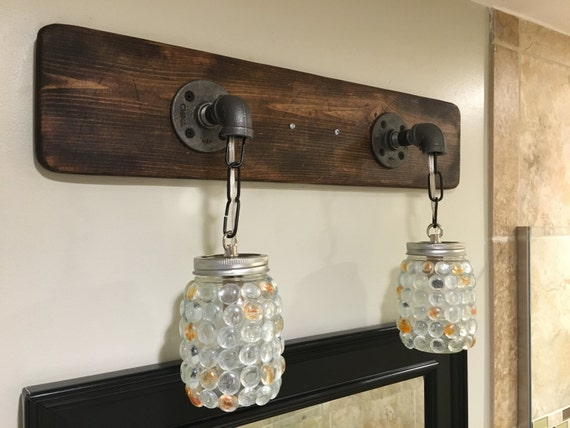 Rustic Industrial Modern Mason Jar Lights Vanity Light: Vanity Light Fixture Mason Jar Gems Light Fixture By