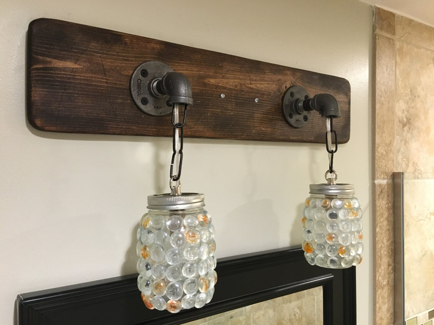 Vanity Light Fixture Mason Jar Gems Light Fixture by Lightrooom