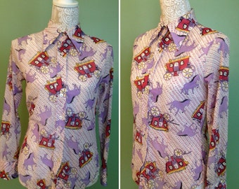 1970's Women's Novelty Print  Blouse with Dagger Collar - 70's women's blouse - 70's top