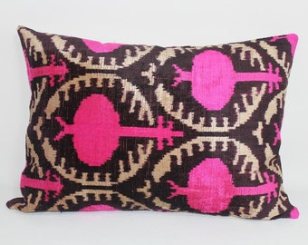 Pink Ikat Velvet Pillow -  14'' x 20''  Pink Pillow Accent Sofa Pillows Ikat Lumbar Pillow Cover Velvet Pillow Cover Pink Couch Pillow