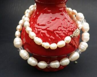 Swarovski Crystal and Off White Creamy Baroque Pearls