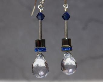 Blue Quartz Earrings, Swarovski Earrings, Swarovski Cube Earrings, Dangling Earrings, Modern Earrings, 1006