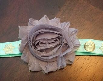 Christmas headband - Mint and Gold - Shabby Flower