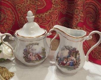 Walbrzych Cream Pitcher and Sugar Bowl - Made in Poland