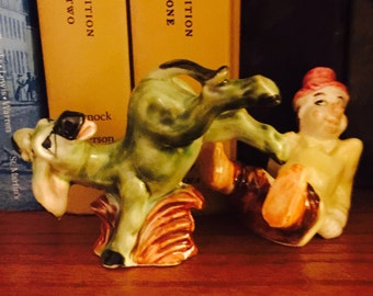Drunk Guy Falling Off his Donkey Salt and Pepper Shakers made in Japan circa 1950's
