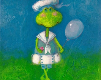 Original Whimsical Frog Painting Acrylic on Stretched Canvas - Customizable
