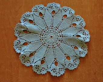 Crochet doily / lace / blue / 10 inches  (26 cm)