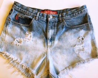 Bleach-Wash Distressed Denim Cutoffs