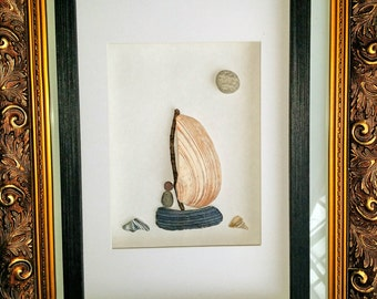 Sea shells sailboat art, sea shell art, wall art, gift for him,  nautical home decor