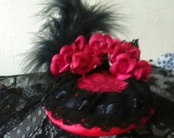 20% OFF SALE ... Red and Black Fascinator from 'Paradise' Collection, Fascinator, Weddings, Hats, Feathers, Steampunk, Victorian,Burlesque