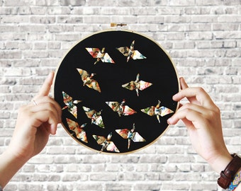 Hoop embroidery X Origami | The flight | Original and artisanal decoration