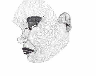 Print, black and white, pen and ink, pointillism, girl/woman, wall art, home decor