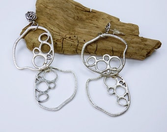 Earrings silver abstract circles - earrings - unique -.