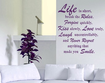 Wall Decal Quotes Life is Short Break the Rules Kiss Slowly Love Truly Wisdom Inspiration Vinyl Sticker Home Décor Living Room Murals A307