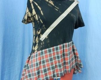 Punk t-shirt bleached black cotton, zip and plaid/tartan