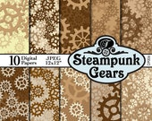 Download Digital Papers: Steampunk Gears | Neutral Colors, Browns and Yellows, Scrapbooking Background Papers DP006  | Industrial Decor stb3