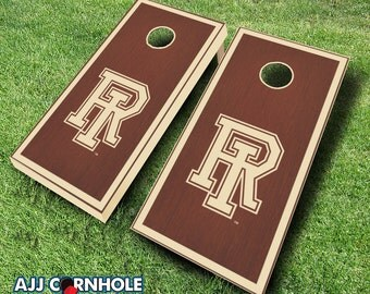 Officially Licensed Univserity of Rhode Island Rosewood Stained Cornhole Set with Bags - Bean Bag Toss - Rhode Island Cornhole - Corn Toss
