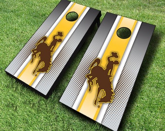 Officially Licensed Wyoming Cowboys Striped Cornhole Set with Bags - Bean Bag Toss - Wyoming Cornhole - Corn Toss - Corn hole