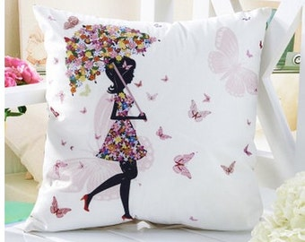 Oh so pretty! Pillow covers - Lady and her butterfly umbrella