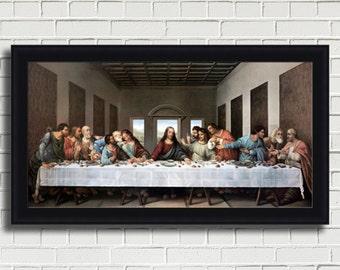"Leonardo da Vinci ""The Last Supper"" Framed Canvas Giclee Print (MD370-70 Black Finish) - Free Shipping"