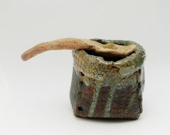 Small Decorative Spoon, Rustic Primitive Twisted,  Brutalist Pottery Hobbitware, brown, Decorative Sugar Spoon