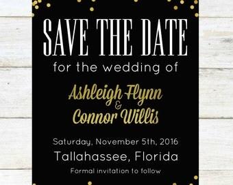 Custom Gold Confetti Save the Date, 4x6, Digital Download