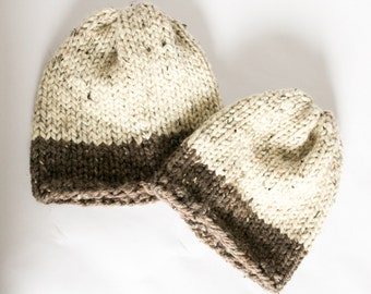 Mommy and Me Chunky Knit Slouchy Winter Hat >> THE EATON << Barley / Oatmeal