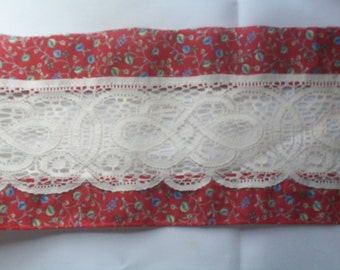 Red and lace trim
