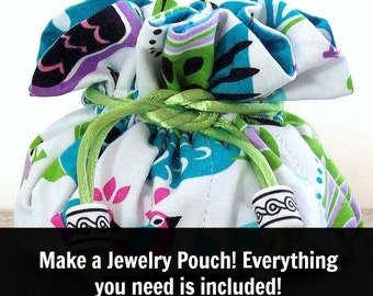 Drawstring Pouch Tutorial / Beginner Sewing Kit / DIY Kit / DIY Gift /  Diy Jewelry Pouch Kit / Jewelry Pouch / Jewelry Travel Bag Kit