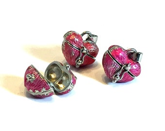 Pink Heart Locket / Pink Heart Pendant / Pink Prayer Box / Prayer Box Pendant / Pink Locket / SECONDS