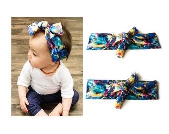 Blue Abstract Knot Headband// blue knot headband, blue flower headband, baby knot headband, blue turban headband, newborn knot headband