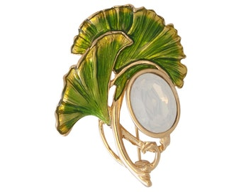 Gingko Leaf Brooch with Opal, Gold Plated