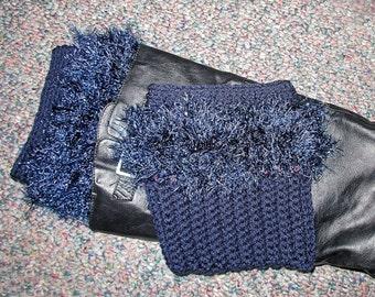 Navy Blue Fur Trimmed Crochet Boot Cuffs.