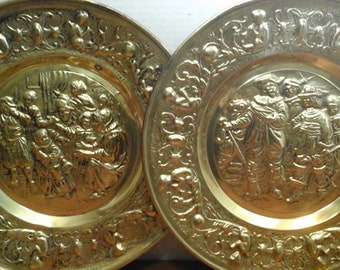 """14"""" Brass, Holland Scenes Brass Plates, Brass Wall Decor, Vintage Brass Wall Plaques, Dutch Scenes, made in Holland"""